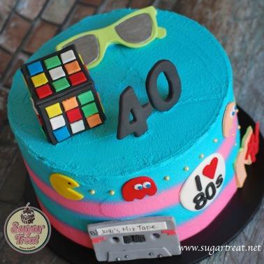 80's 40th Birthday Cake