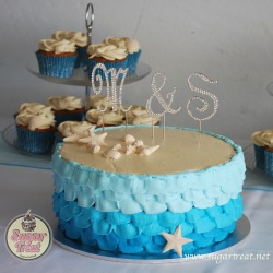 Beach theme cake and cupcakes