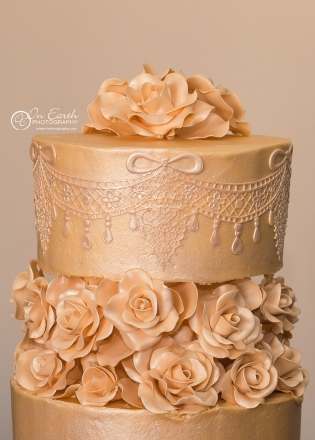 Ivory gold lace and roses (photo from One Earth Photography)