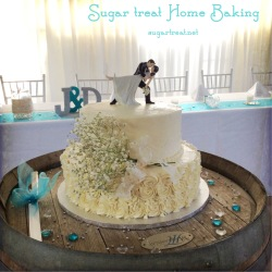 Coconut and chocolate cake with fresh gypsophila