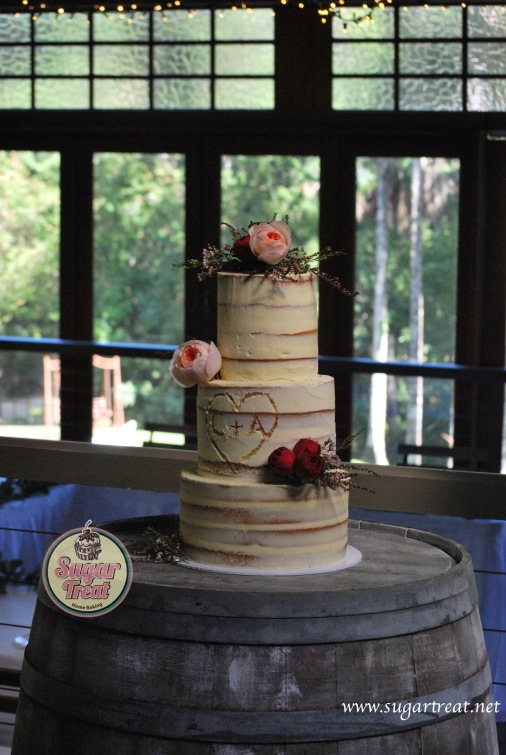 Wedding 3 tier semi naked carved3
