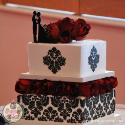 Black stencil and red roses