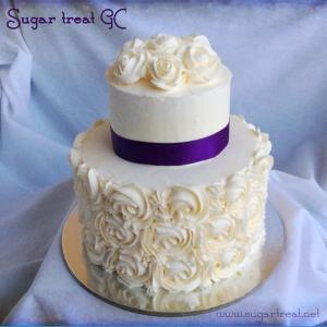 white with purple ribbon
