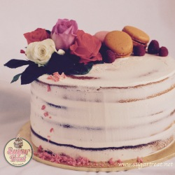 S9. Semi naked with fresh roses and macarons