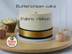 Buttercream cake+Fabric ribbon