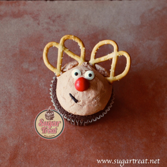 Red Nosed Reindeer chocolate cupcakes