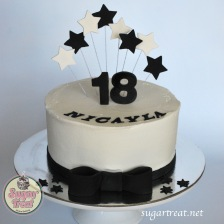 18th Black and white stars with bow