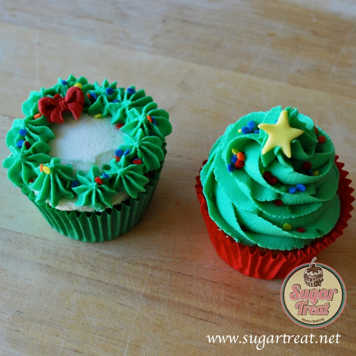Christmas Tree and wreath cupcakes