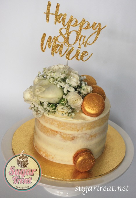 Birthday Semi-naked gold macarons white flowers