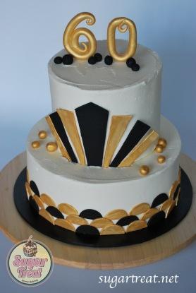 Black and Gold Cabaret Gatsby Art Deco 2 tier