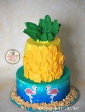 Pineapple and flamingos 2 tier