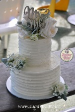 Wedding cake extended 2 tier fresh flowers