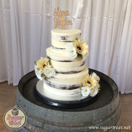 Wedding Semi naked chocolate with artificial flowes