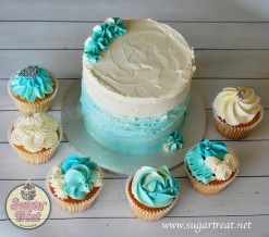 Wedding shades of blue cupcakes